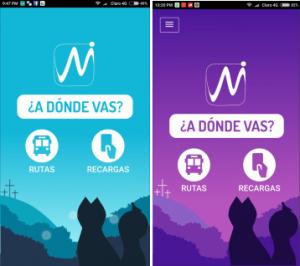 Interfaces de inicio sobre el prototipo de Mio App, 2017